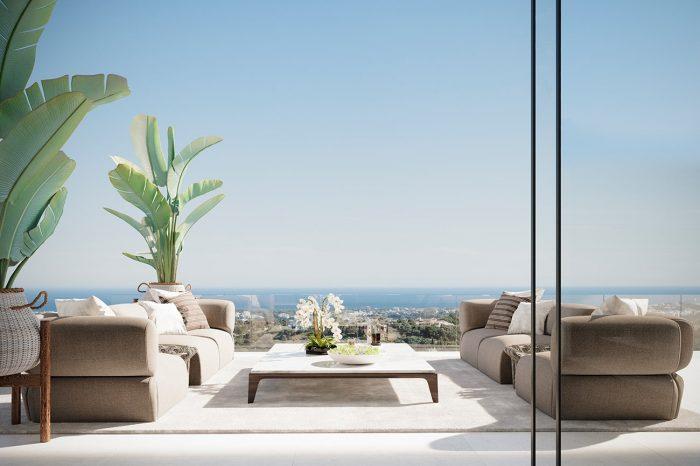The terrace enjoys 180-degree sea views from the B&B Italia outdoor sofas.