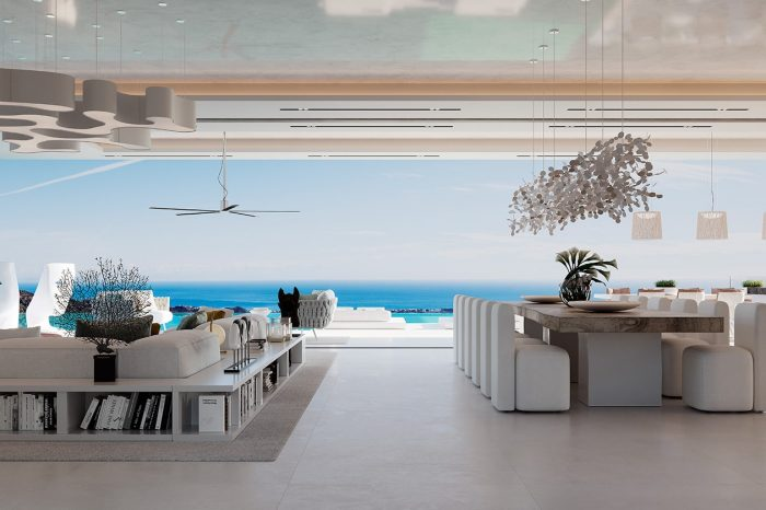 As you step inside the villa this is the view you see over the infinity pool to the Mediterranean Sea. It's almost like the house isn't there – just the view.