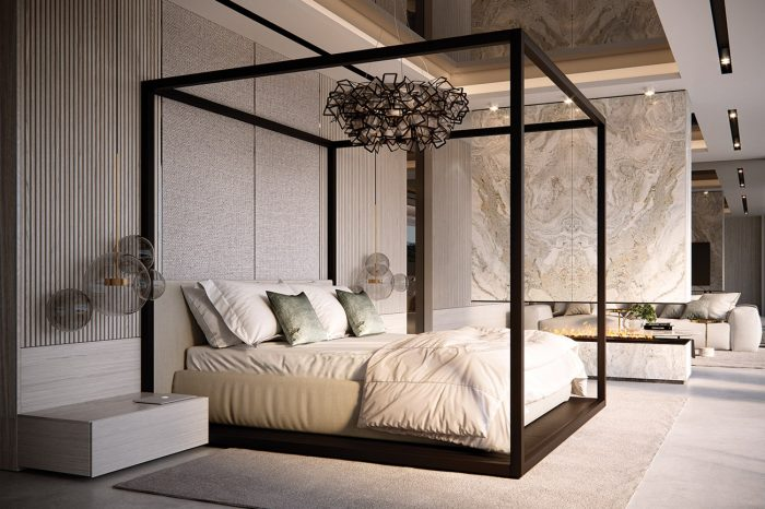 Master Bedroom: the main feature of the room, the 4-poster bed, is divided from the seating area by a floating wall of travertine marble, allowing the fire to be enjoyed from both areas.