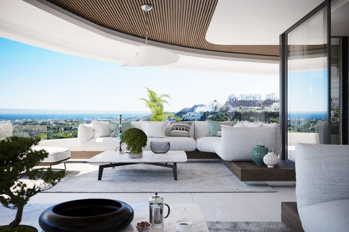 A tinted glass panel surrounding the terrace enhances the view