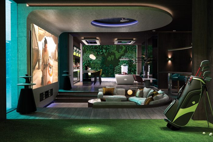 The Entertainment room: the view across the entertainment space to the wall of greenery beyond. In this space are two cinema areas, a sports bar, games area with pool table, VIP seating areas, DJ booth, state-of-the-art golf simulator, spa and fully-fitted gym. The blue light comes from the swimming pool, with two large glass panels either side of the screen.