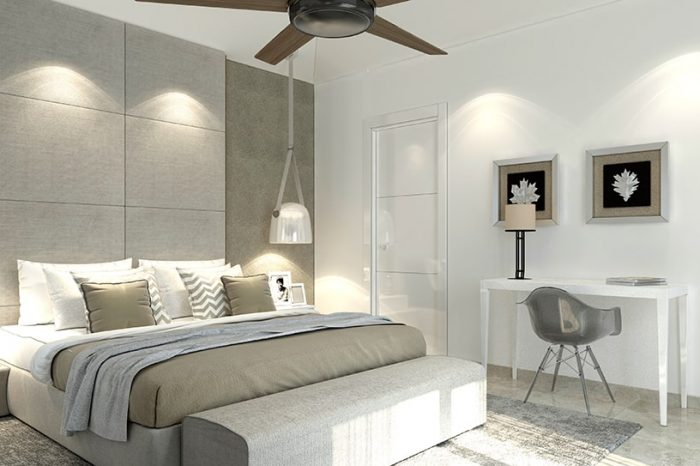 Neutral tones and soft furnishings make up this contemporary bedroom