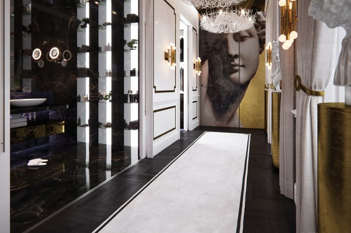 "The magnificent hallway leading from the master bedroom to ""His"" and Her"" bathrooms and walk-in wardrobes."