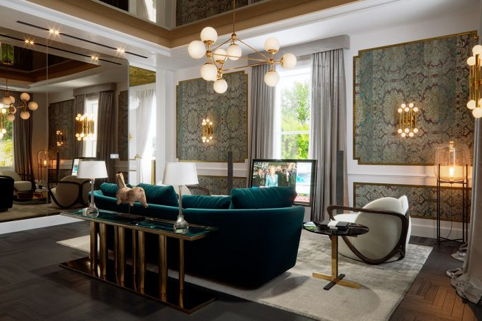 Light streams into the lounge area of the Master Suite and is reflected and amplified by the wall and ceiling mirrors