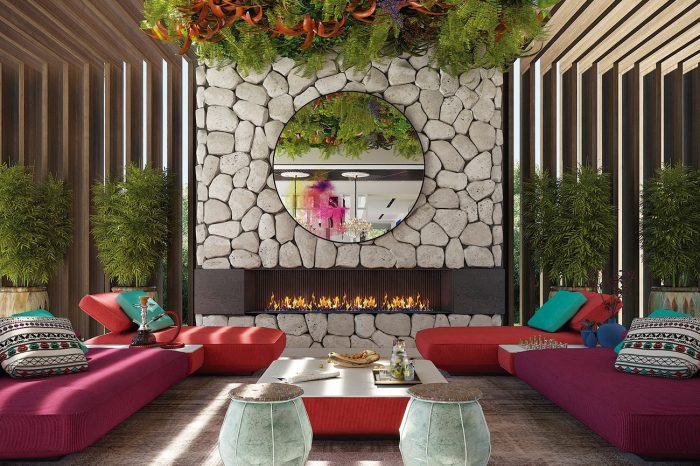 The vibrant colours and ethnic materials combine to create the atmosphere of a Moroccan living room. Pass the shisha...