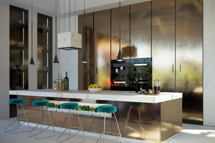 The Kitchen: The custom-made UDesign kitchen, with black Miele equipment and brushed gold surface finishes, is both contemporary and impressive. An isle-integrated garden-bed brings life into the otherwise uncluttered space, with storage and the pantry hidden behind the gold-finished doors.