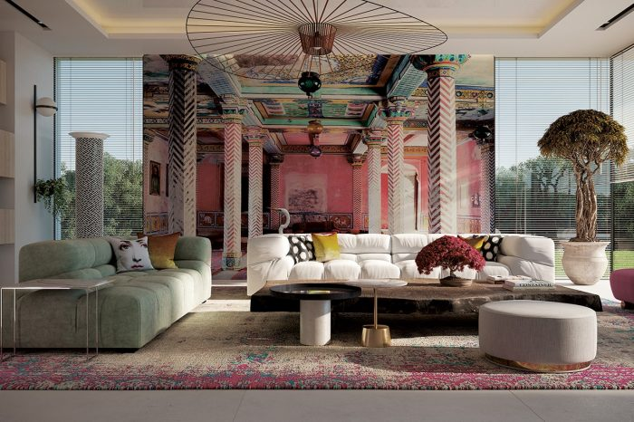 The TV Room: The 3D floor to ceiling wallpaper creates a feeling of extended perspective. The vibrant colours from the rest of the villa find their place here too, the pink of the wallpaper reflected in the carpet, the Pipe armchairs and the small bonsai. With the ethereal and graphic Vertigo lamp by Petite Friture, the room is both stylish and cosy.
