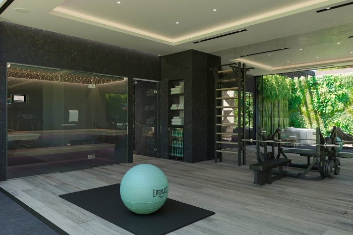 The Gym and Spa area with sauna
