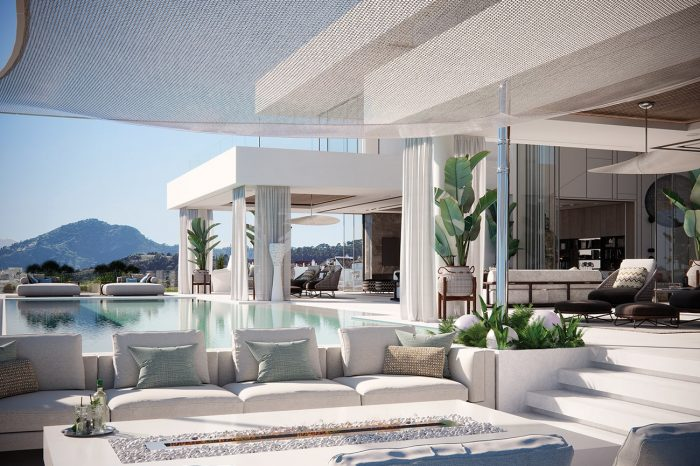 This magnificent terrace manages to contain 5 distinct areas: the sunbathing area, the fire pit with comfy sofas, the TV room terrace, the kitchen & dining terrace and the Formal Lounge terrace.