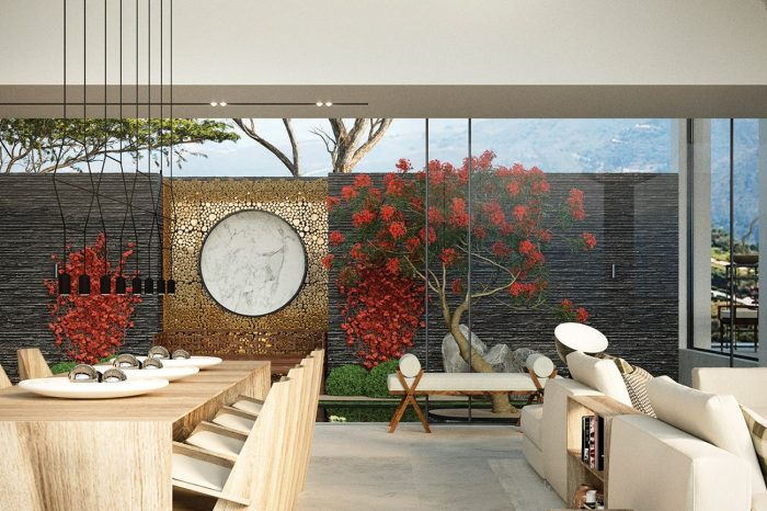 The Zen Garden can be enjoyed whilst dining and relaxing in the lounge.