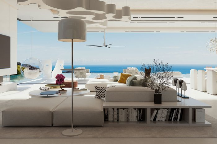View across the TV area towards the terrace and pool