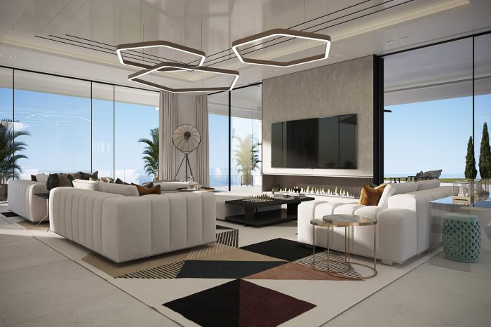 Tones are warmer here than in the Formal Lounge and the set of Minotii white sofas defines the basic function of this comfortable space.