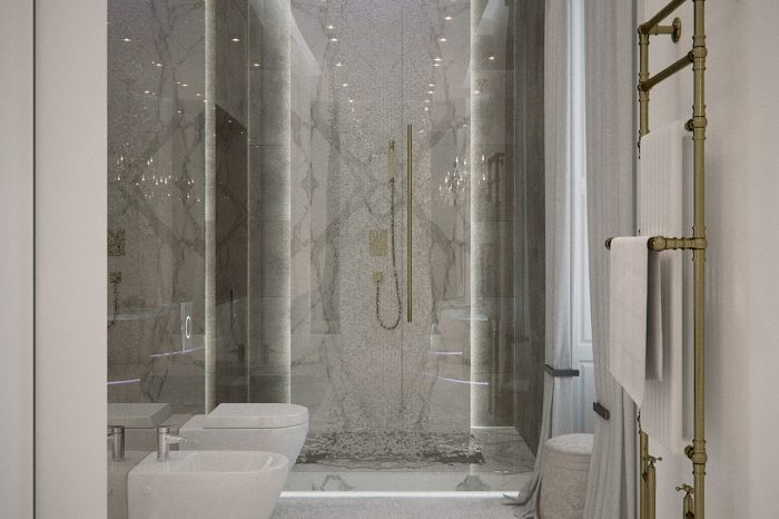The double rainfall shower completes this contemporary yet classical bathroom