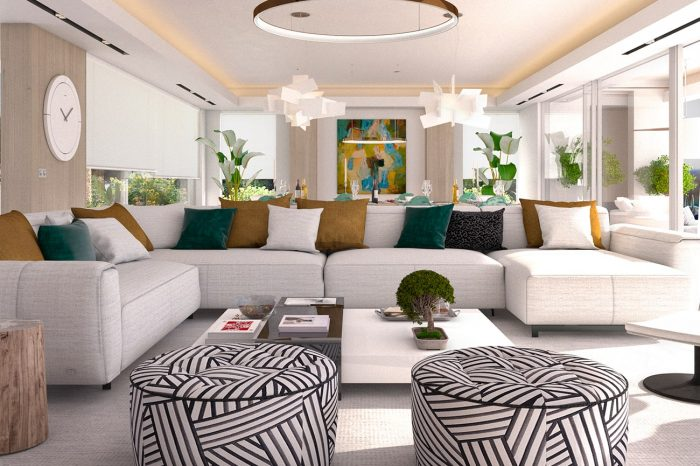 Living area: the geometric pouffes add a sophistication to the overall design
