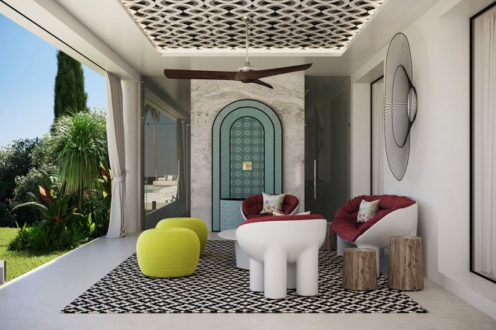 This secluded patio is located to one side of the main entrance, beautifully designed to reflect a Moorish past, its simplicity both complemented by and contrasted with minimalist contemporary furniture by Dirade.
