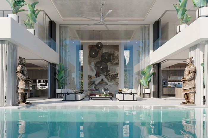 View across the pool to the Formal Lounge. The ancient Moors knew all about water: it has to be close to the living area, and this concept has become a UDesign trademark in the positioning of all their pools.