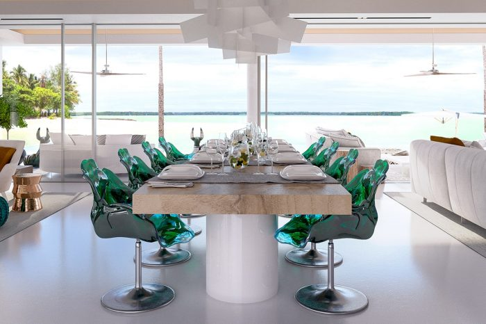 The dining table, with a bleached solid oak top, was custom-made by UDesign. Dining chairs: the Ella Chair designed by Jacopo Foggini for Edra - each chair is a sculpture unlike any other.