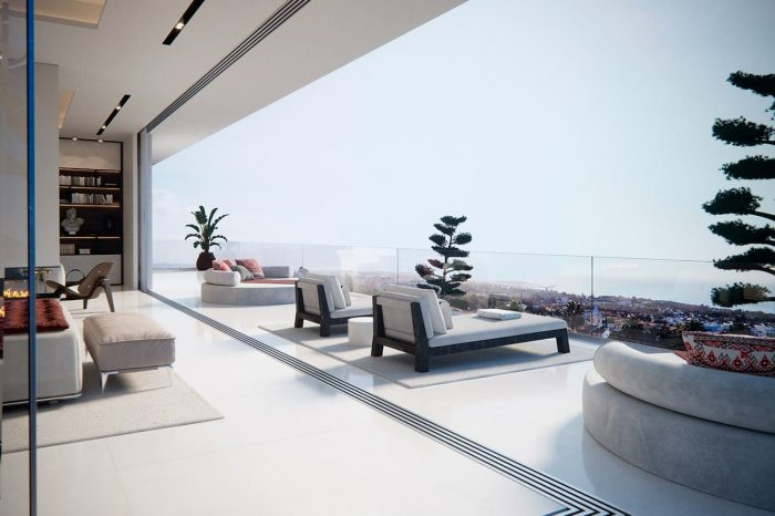 Terrace with sliding glass walls allowing the inside and outside to become one huge living space.