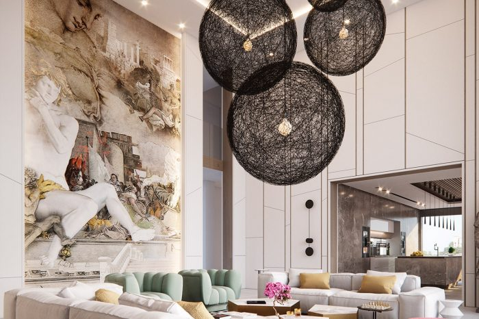 Formal Lounge. The high ceiling running into two floors, the lighting an imposing design element in itself and the large mural -it all adds to the splendour of this room.