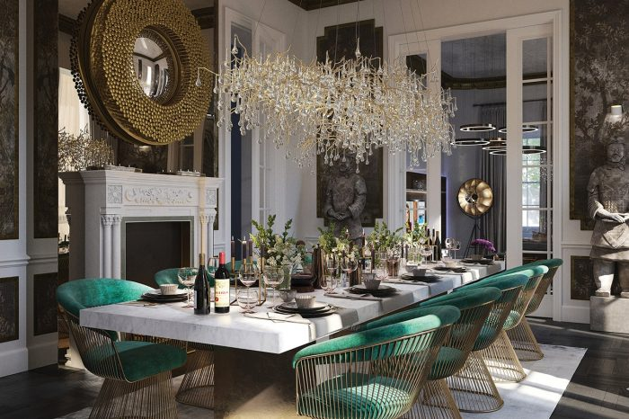 This opulent dining room has gold-plated Walter Knoll chairs, a marble table and dew-drop chandelier lighting.