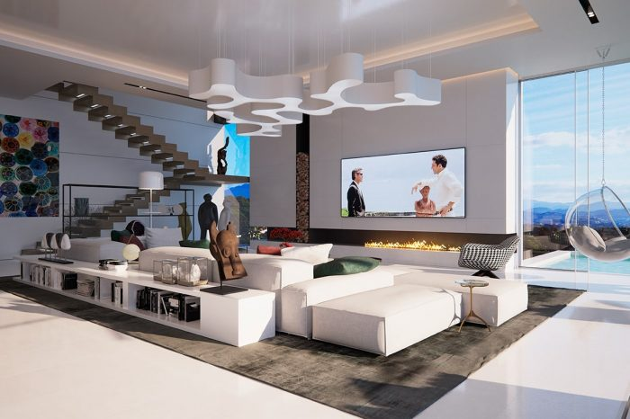 The open-plan living room with different areas allows for togetherness whilst enjoying different activities.