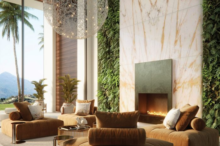 Vertical gardens gracefully flank a 6-metre high piece of illuminated onyx.