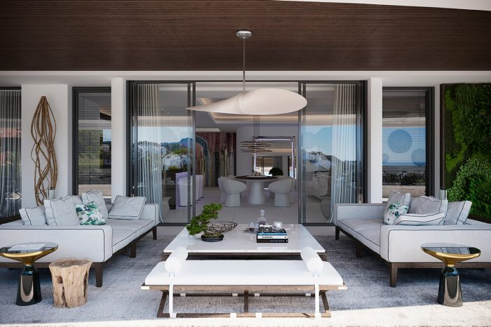 The terrace features a grooved eucalyptus wood ceiling and designer furniture