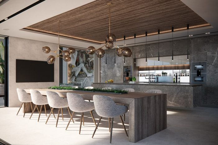 Sun streams into the kitchen and dining area.