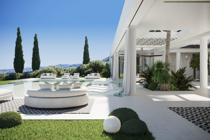 View over the spacious terrace and pool area.