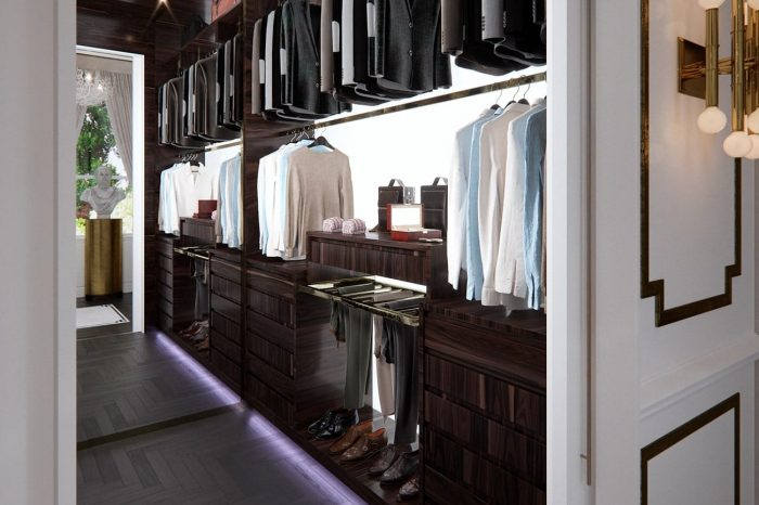 "There are ""His and Hers"" walk-in wardrobes, this is the entrance to ""His"""