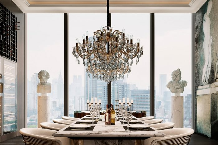 The dining room is a stunningly spectacular setting, with views over the city