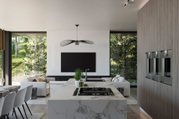 A white marble block forms the central part of the kitchen