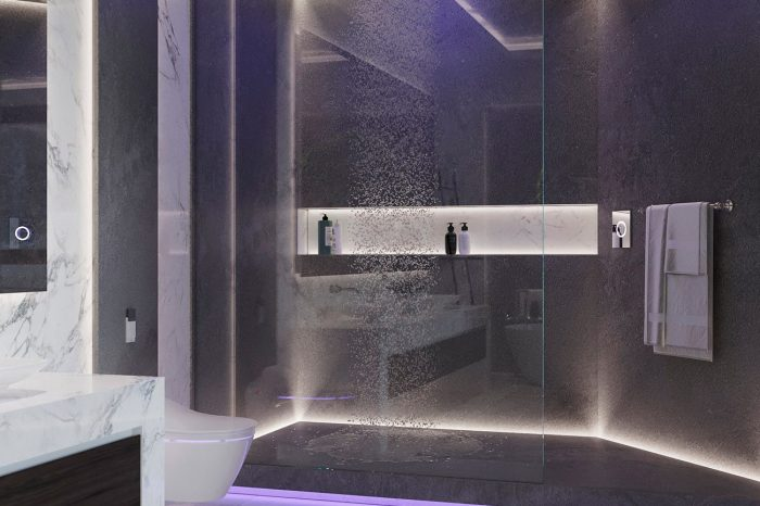 Spacious walk-in shower with backlit recess for shower essentials and neon lighting.