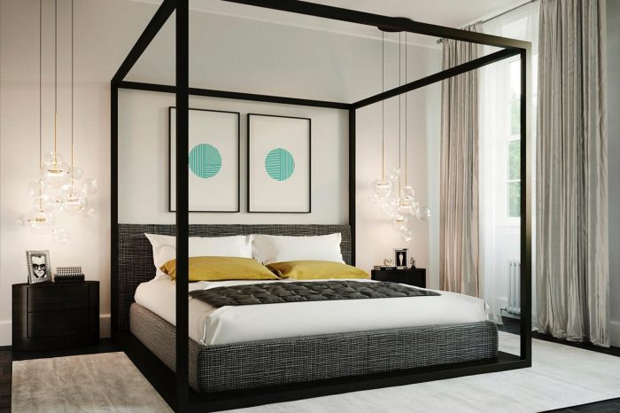 A masculine-style bedroom with contrasting colour highlights. Glass hanging lights add a touch of glamour.