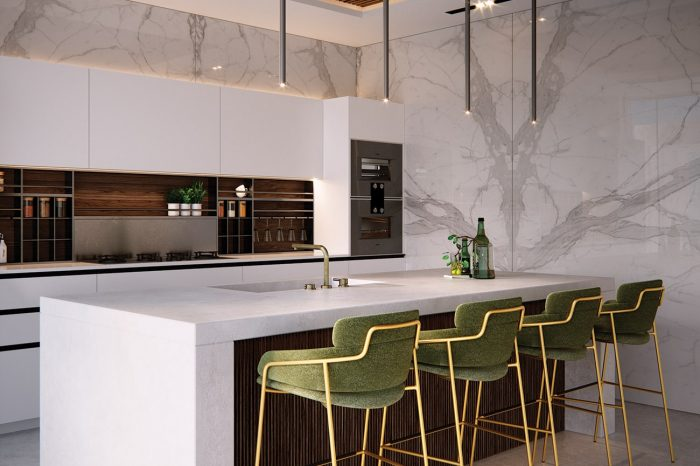 The breakfast bar with it's olive and brass bar stools
