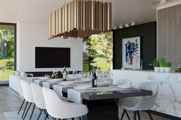 The dining area features a gold finished Brubeck chandelier by Delightfull