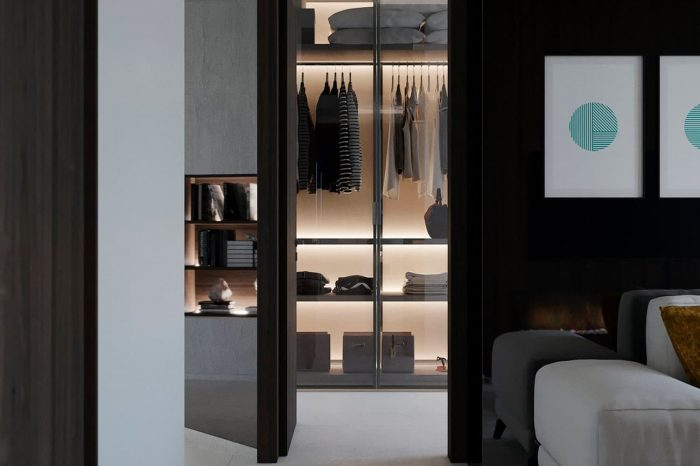 The walk-in wardrobe sits behind the lounge.