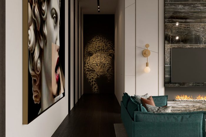 The wall panel by Roberto Cavalli creates a spectacular atmosphere