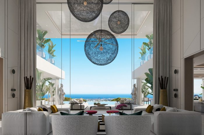 Perfectly symmetrical, designer fittings with the ceiling lights redefining the sky and the two warriors inviting us to look outwards, the perfect blend of tone and colour - this is designer opulence.