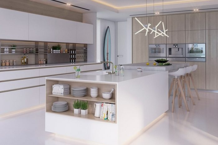 Kitchen: the surfboard hanging on the wall is not just for decoration...