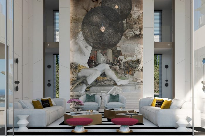 Formal Lounge. The high ceiling running into two floors, the lighting an imposing design element in itself and the large mural on the wall - it all adds to the splendour of this room.
