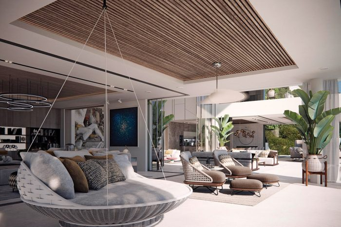 The Family TV room and terrace: the seamless flow to the outside space is inside/outside living at its finest. The swinging day bed is the perfect place to take your siesta.