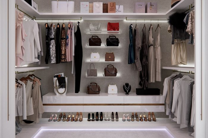 """Her"" walk-in wardrobe, with all accessories on display"