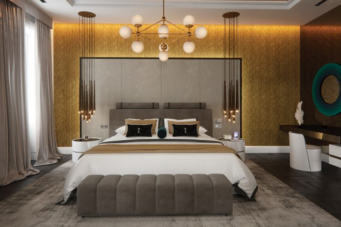 The Grand Master Suite oozes style and luxury, from smoked mirror ceilings to gold leaf wallpaper – it would rival any 6-star luxury hotel suite.