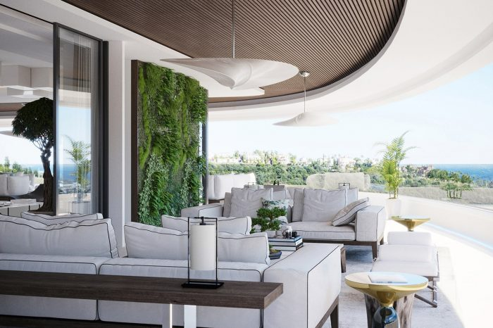 The terrace furniture features a Flexiform white sofa with black detail & Classicon Bell Side tables
