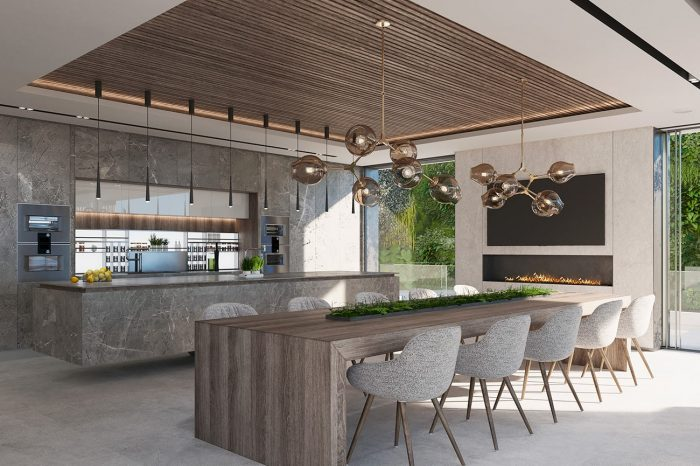 The Kitchen / Dining area. The 10-seater dining table is custom-made by UDesign
