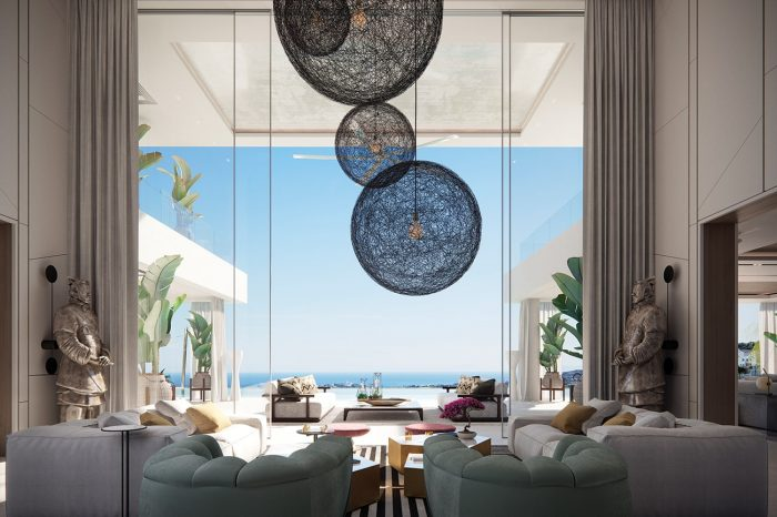 Formal Lounge. Perfectly symmetrical, designer fittings with the ceiling lights redefining the sky and the two warriors inviting us to look outwards, the perfect blend of tone and colour - this is designer opulence.